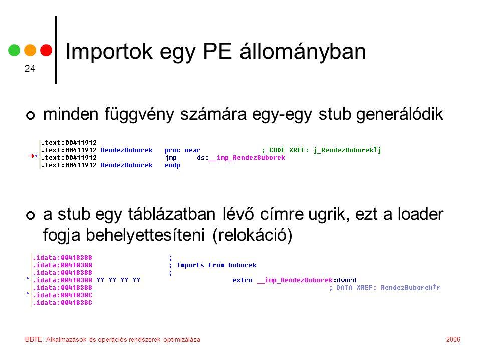 2006BBTE, Alkalmazások és operációs rendszerek optimizálása 24 Importok egy PE állományban minden függvény számára egy-egy stub generálódik a stub egy táblázatban lévő címre ugrik, ezt a loader fogja behelyettesíteni (relokáció)