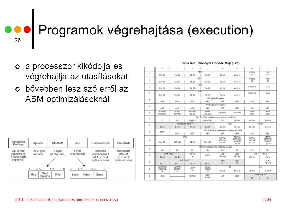 2006BBTE, Alkalmazások és operációs rendszerek optimizálása 26 Programok végrehajtása (execution) a processzor kikódolja és végrehajtja az utasításokat bővebben lesz szó erről az ASM optimizálásoknál