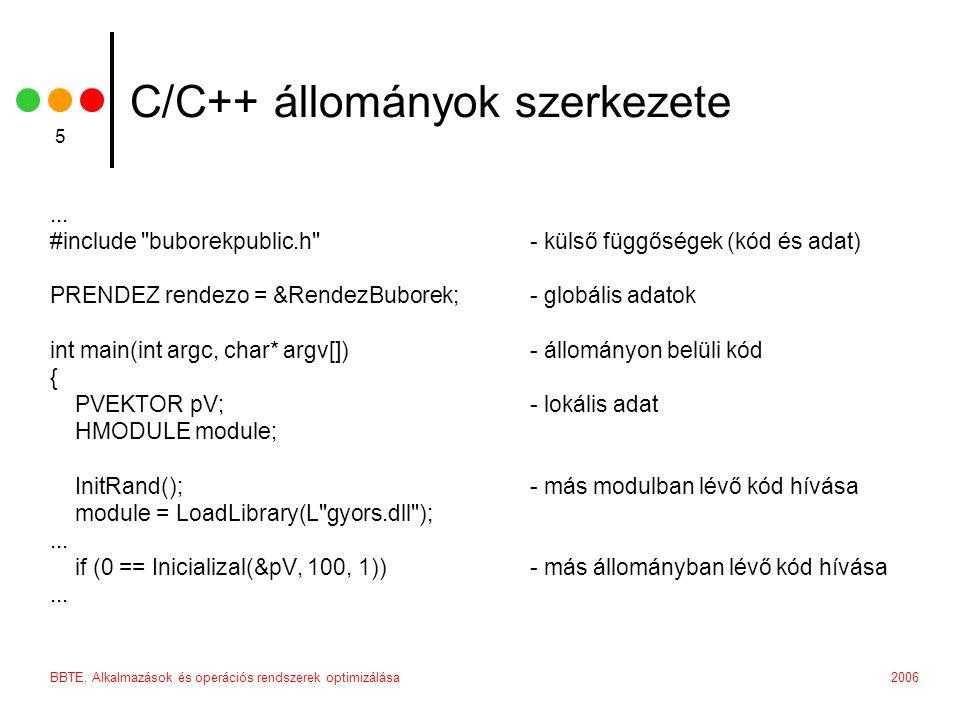 2006BBTE, Alkalmazások és operációs rendszerek optimizálása 5 C/C++ állományok szerkezete...