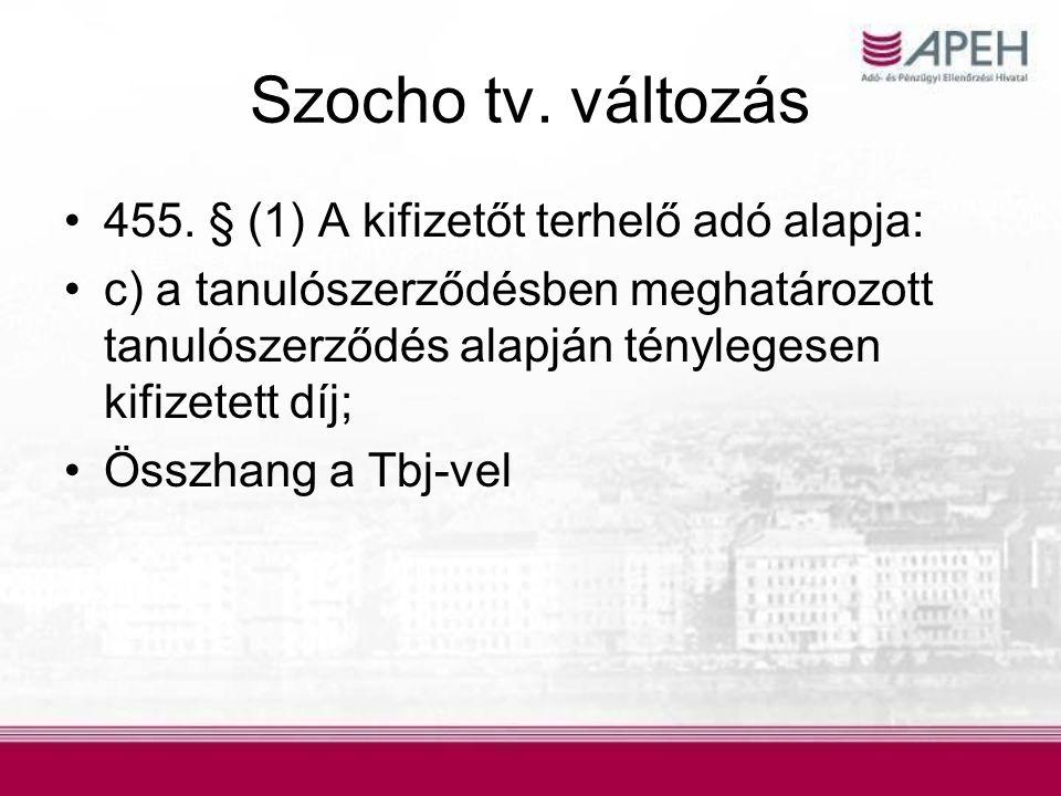 Szocho tv. változás •455. § (1) A kifizetőt terhelő adó alapja: •c) a tanulószerződésben meghatározott tanulószerződés alapján ténylegesen kifizetett