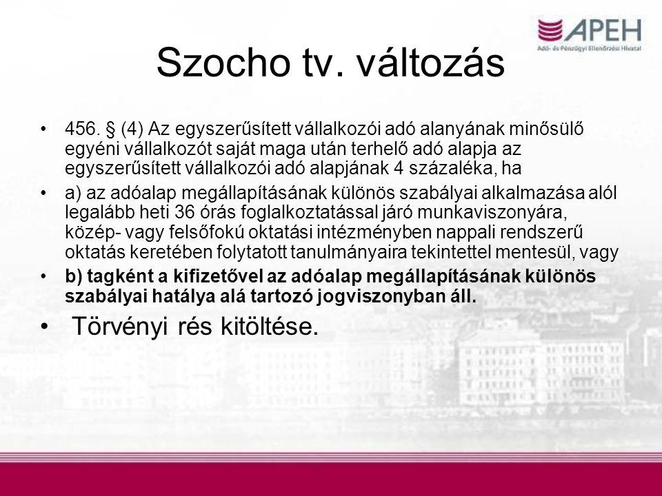 Szocho tv. változás •456. § (4) Az egyszerűsített vállalkozói adó alanyának minősülő egyéni vállalkozót saját maga után terhelő adó alapja az egyszerű