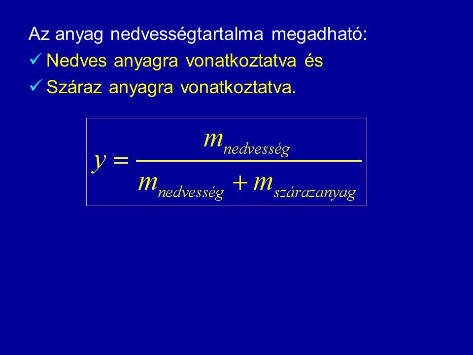 Az anyag nedvességtartalma megadható:  Nedves anyagra vonatkoztatva és  Száraz anyagra vonatkoztatva.