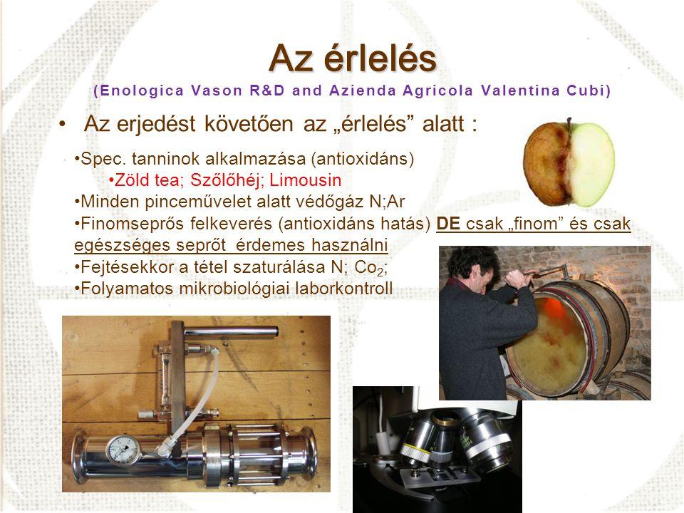 A palackozás A palackozás (Enologica Vason R&D and Azienda Agricola Valentina Cubi) •Pincehigiénia; oxigéntartalom; laborkontroll –A töltési időpont körültekintő meghatározása •Speciális tanninok alkalmazása - töltéskori O 2 felvétel •3 lépcsős élesztő rehidratálás •Összetett tápanyagok használata •Okszerű laborméréseken alapuló adagolás •Folyamatos mikrobiológiai laborkontrol a teljes folyamat ideje alatt Kezelés (1,5g/hL)SO 2 szabad (mg/L) Δ szabad SO 2 (mg/L) Töltés 2007/07/03 Teszt 30% Δ SO 2 Ellenőrzés 2009/05/13 Teszt 17,3-43,2% Premium ® Stab 18,6-38 % Premium ® Uva 23,0-23,3% Ti Premium ® 20,8-30,7% Premium ® Limousin 22,1-26,3%
