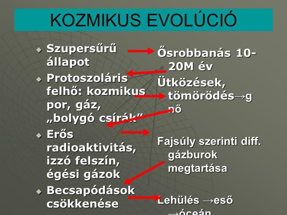 Kémiai evolúció (prebiotikus szintézis, molekuláris önszerveződés, az élővé alakulás folyamata) 1.