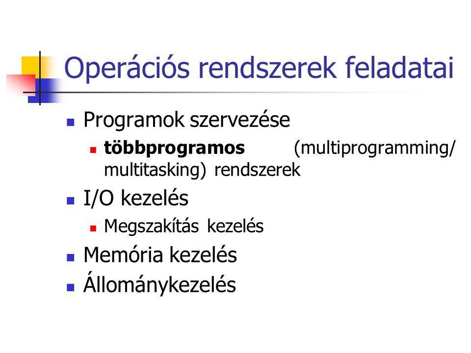Operációs rendszerek feladatai  Programok szervezése  többprogramos (multiprogramming/ multitasking) rendszerek  I/O kezelés  Megszakítás kezelés