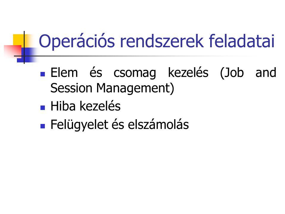Operációs rendszerek feladatai  Elem és csomag kezelés (Job and Session Management)  Hiba kezelés  Felügyelet és elszámolás