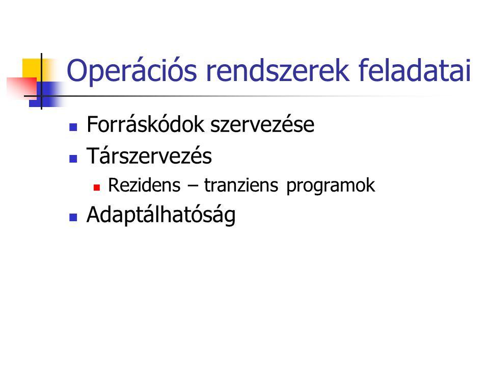 Operációs rendszerek feladatai  Forráskódok szervezése  Társzervezés  Rezidens – tranziens programok  Adaptálhatóság