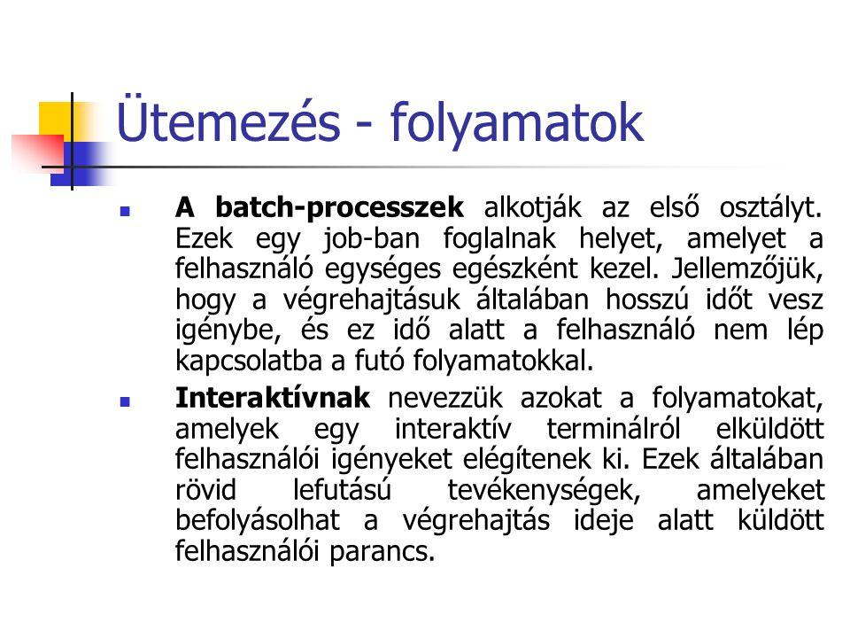 Ütemezés - folyamatok  A batch-processzek alkotják az első osztályt. Ezek egy job-ban foglalnak helyet, amelyet a felhasználó egységes egészként keze