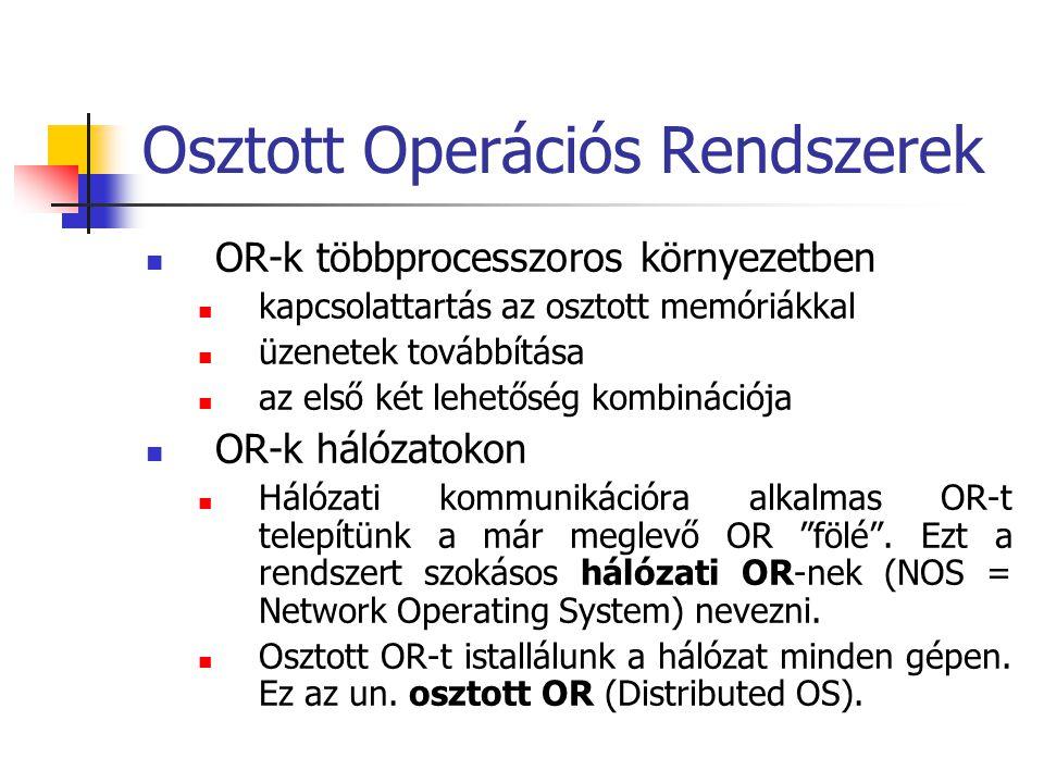 Osztott Operációs Rendszerek  OR-k többprocesszoros környezetben  kapcsolattartás az osztott memóriákkal  üzenetek továbbítása  az első két lehető