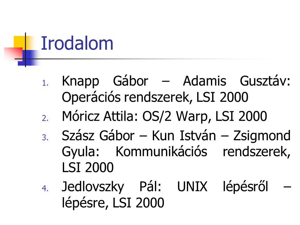Irodalom 1. Knapp Gábor – Adamis Gusztáv: Operációs rendszerek, LSI 2000 2. Móricz Attila: OS/2 Warp, LSI 2000 3. Szász Gábor – Kun István – Zsigmond
