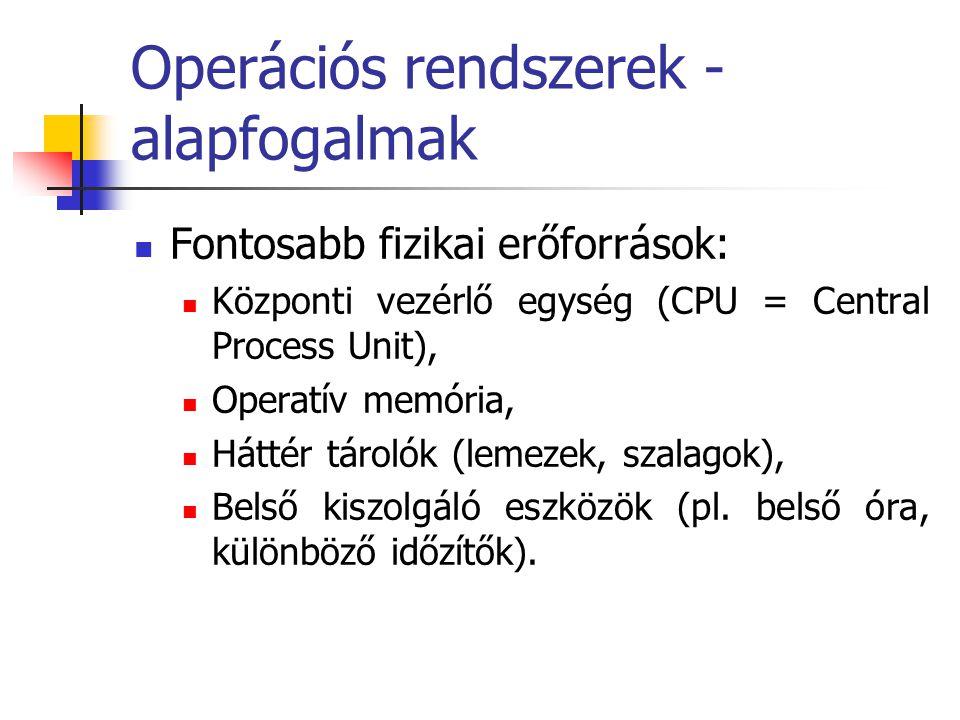 Operációs rendszerek - alapfogalmak  Fontosabb fizikai erőforrások:  Központi vezérlő egység (CPU = Central Process Unit),  Operatív memória,  Hát