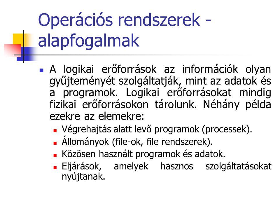Operációs rendszerek - alapfogalmak  A program egy algoritmust megvalósító utasítások sorozata, függetlenül attól, hogy azok magas szintű nyelven, vagy akár bináris gépi kódban van ábrázolva és tárolva  A folyamat egy éppen végrehajtás alatt lévő program