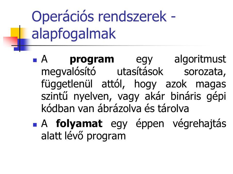 Operációs rendszerek - alapfogalmak  A program egy algoritmust megvalósító utasítások sorozata, függetlenül attól, hogy azok magas szintű nyelven, va