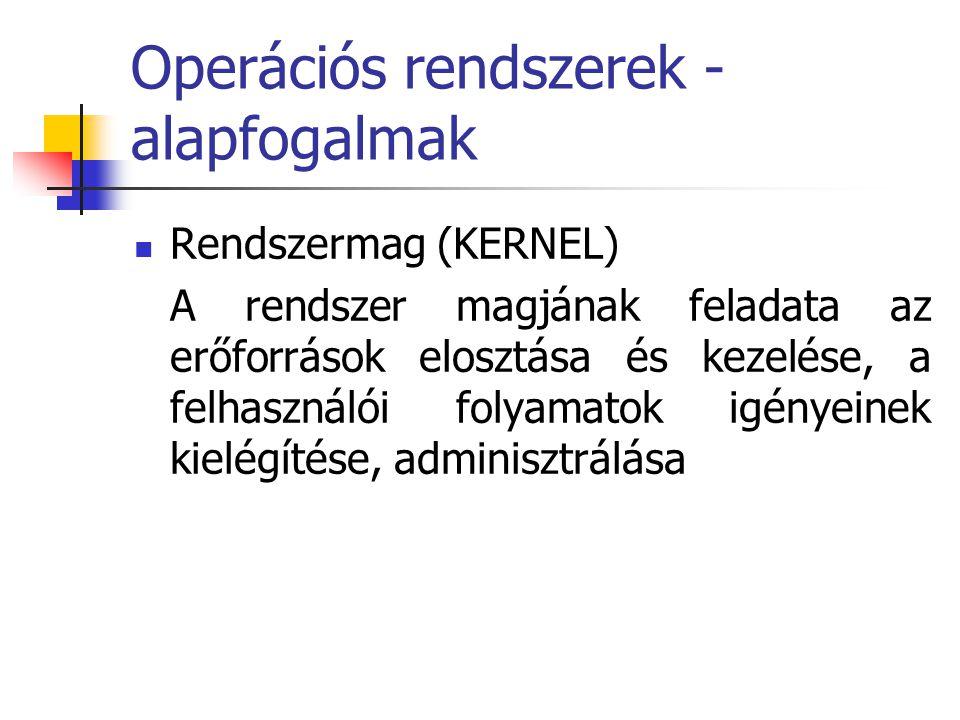 Operációs rendszerek - alapfogalmak  Rendszermag (KERNEL) A rendszer magjának feladata az erőforrások elosztása és kezelése, a felhasználói folyamato