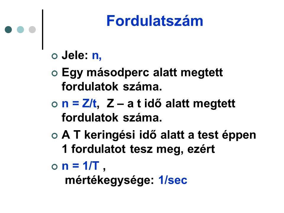 További képletek v ker =  i/  t =2R  /T = 2R  n  =  φ/  t = 2  /T = 2  n