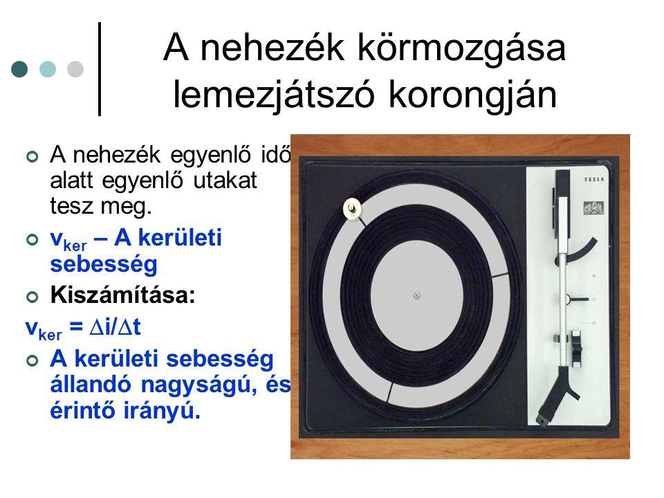A lemezjátszó tányérja egyenlő idő alatt egyenlő szöggel fordul el.