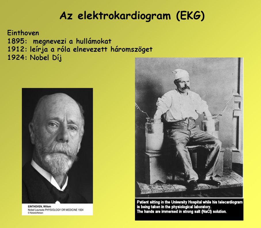 Az elektrokardiogram (EKG) Einthoven 1895: megnevezi a hullámokat 1912: leírja a róla elnevezett háromszöget 1924: Nobel Díj