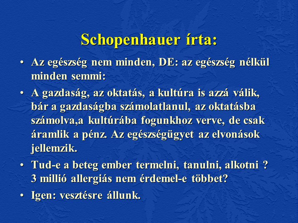 Schopenhauer írta: •Az egészség nem minden, DE: az egészség nélkül minden semmi: •A gazdaság, az oktatás, a kultúra is azzá válik, bár a gazdaságba számolatlanul, az oktatásba számolva,a kultúrába fogunkhoz verve, de csak áramlik a pénz.