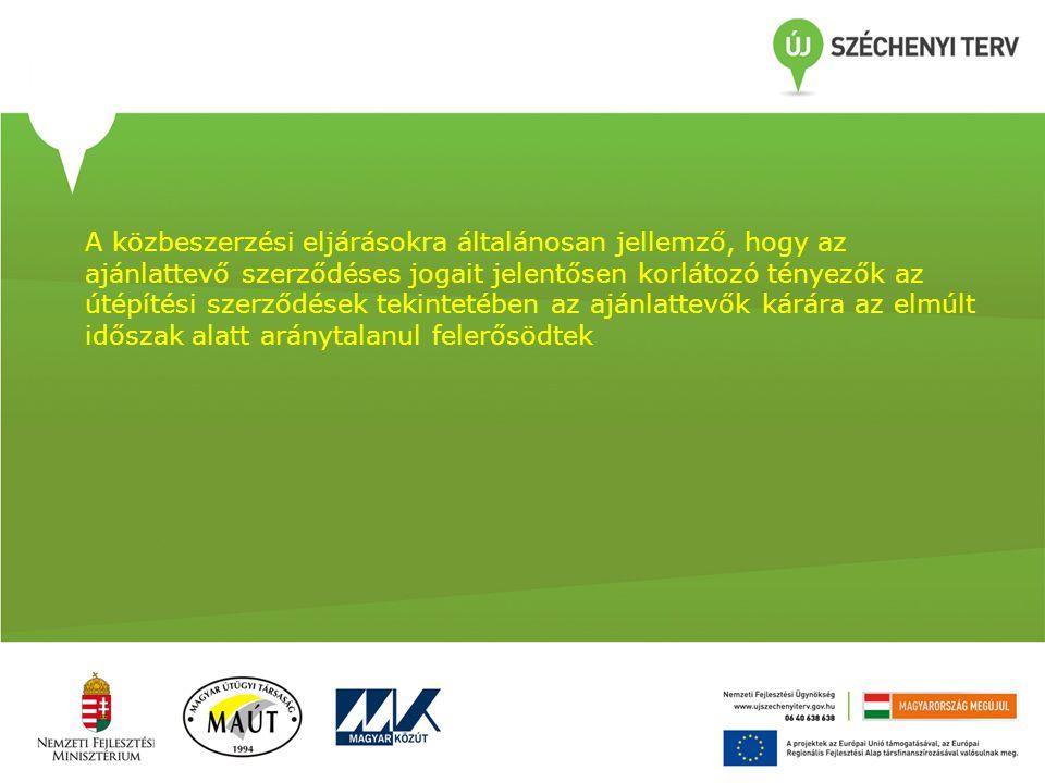 A közbeszerzési eljárásokra általánosan jellemző, hogy az ajánlattevő szerződéses jogait jelentősen korlátozó tényezők az útépítési szerződések tekint
