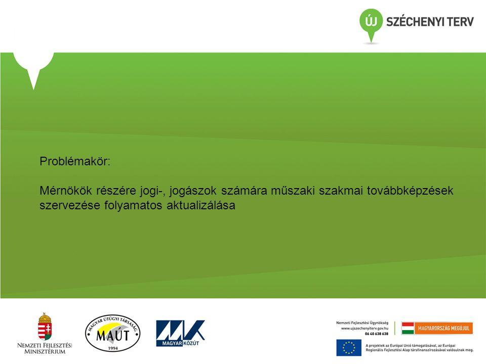 Problémakör: Mérnökök részére jogi-, jogászok számára műszaki szakmai továbbképzések szervezése folyamatos aktualizálása