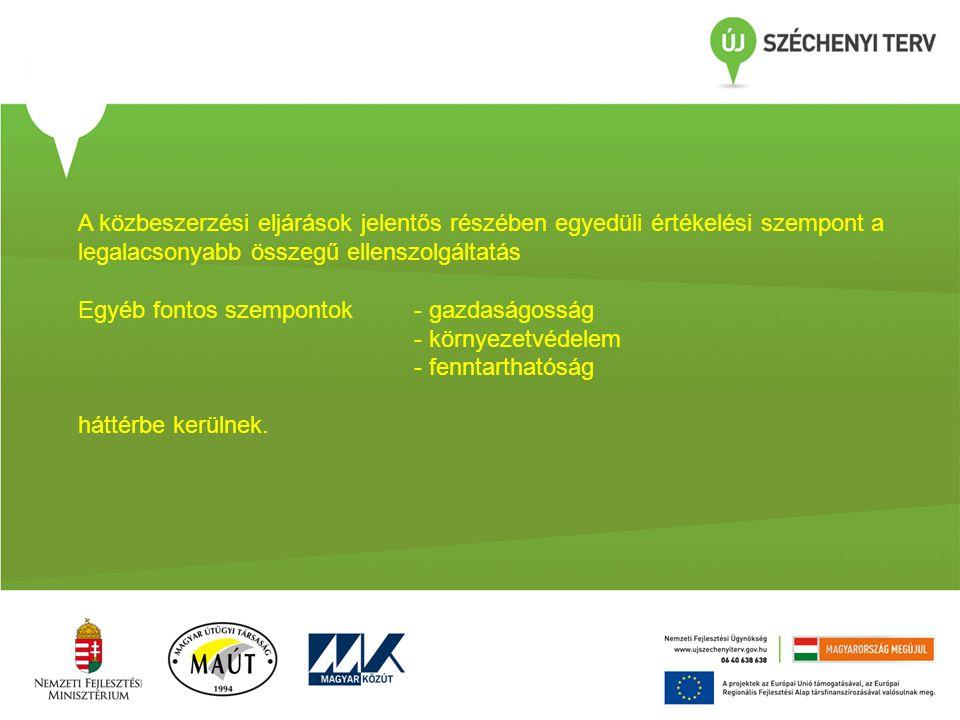Egyéb fontos szempontok- gazdaságosság - környezetvédelem - fenntarthatóság háttérbe kerülnek.