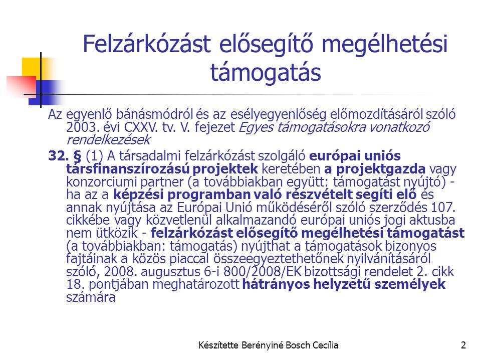 Készítette Berényiné Bosch Cecília2 Felzárkózást elősegítő megélhetési támogatás Az egyenlő bánásmódról és az esélyegyenlőség előmozdításáról szóló 2003.