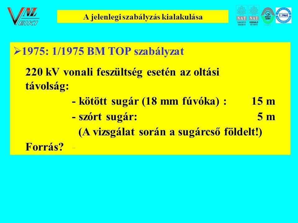 A jelenlegi szabályzás kialakulása  1975: 1/1975 BM TOP szabályzat 220 kV vonali feszültség esetén az oltási távolság: - kötött sugár (18 mm fúvóka) :15 m - szórt sugár: 5 m (A vizsgálat során a sugárcső földelt!) Forrás.