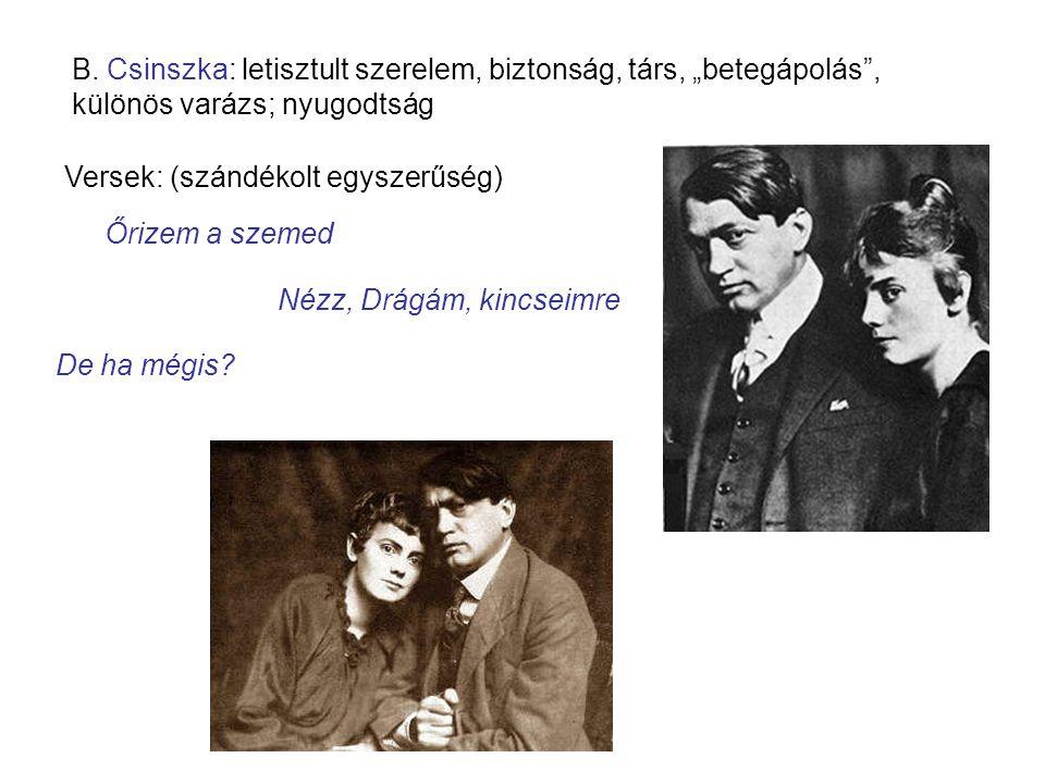 """B. Csinszka: letisztult szerelem, biztonság, társ, """"betegápolás"""", különös varázs; nyugodtság Versek: (szándékolt egyszerűség) Őrizem a szemed Nézz, Dr"""