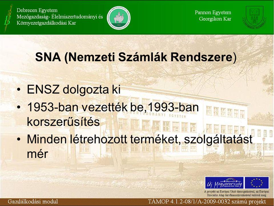 SNA (Nemzeti Számlák Rendszere) •ENSZ dolgozta ki •1953-ban vezették be,1993-ban korszerűsítés •Minden létrehozott terméket, szolgáltatást mér