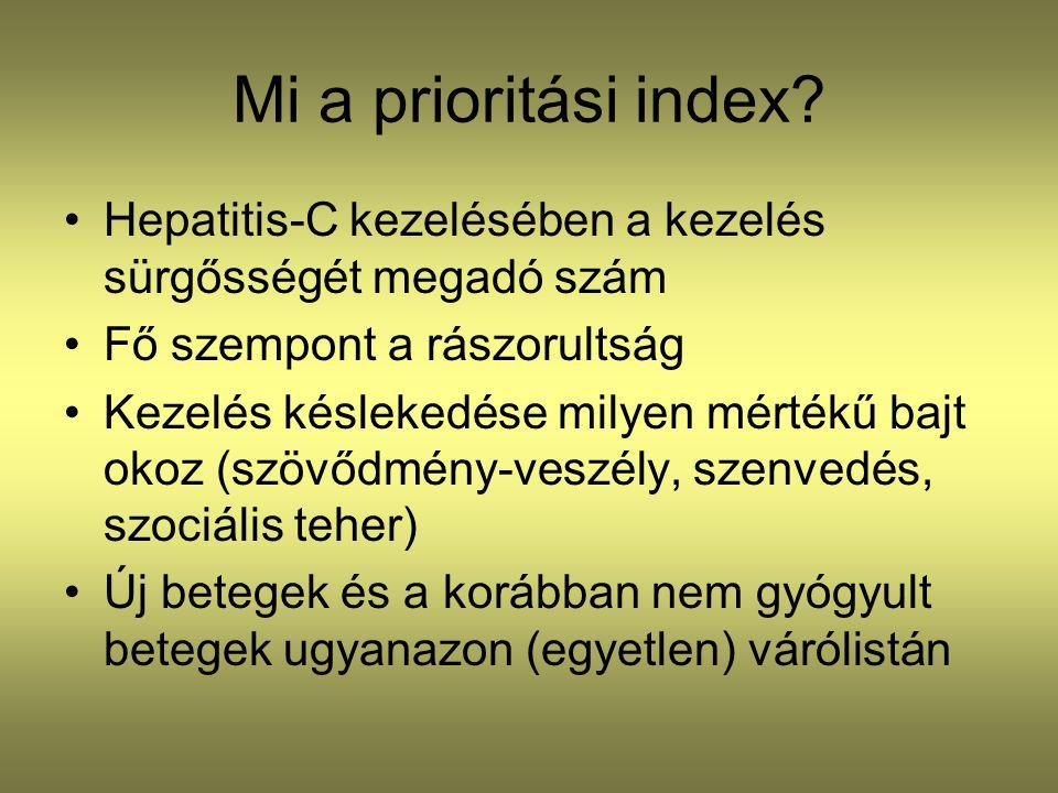 Mi a prioritási index? •Hepatitis-C kezelésében a kezelés sürgősségét megadó szám •Fő szempont a rászorultság •Kezelés késlekedése milyen mértékű bajt