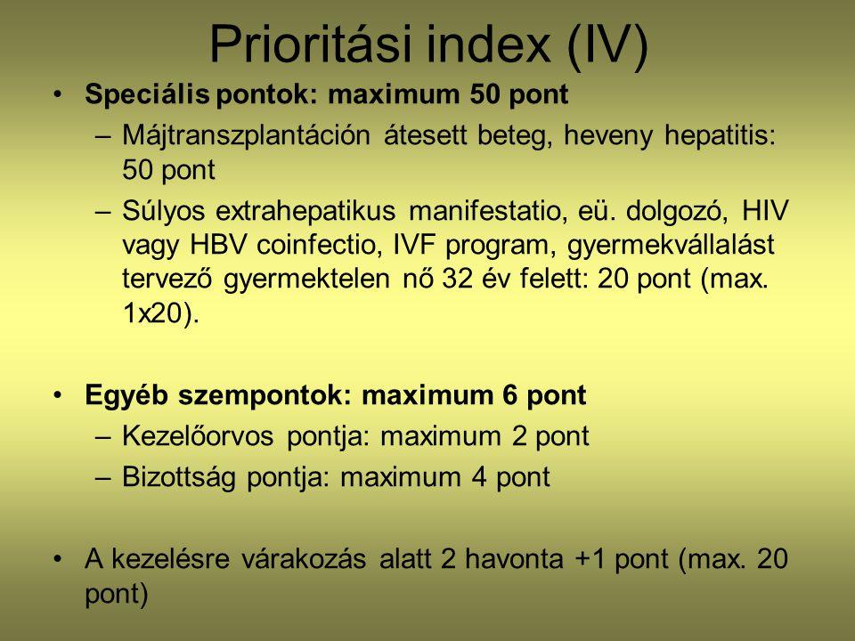 Prioritási index (IV) •Speciális pontok: maximum 50 pont –Májtranszplantáción átesett beteg, heveny hepatitis: 50 pont –Súlyos extrahepatikus manifestatio, eü.