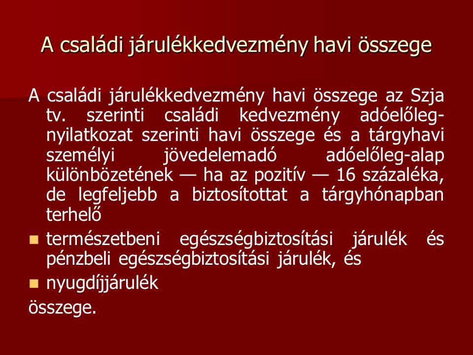 A családi járulékkedvezmény havi összege A családi járulékkedvezmény havi összege az Szja tv. szerinti családi kedvezmény adóelőleg- nyilatkozat szeri