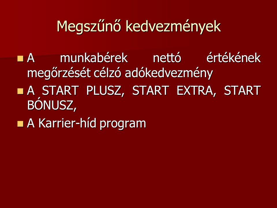 Megszűnő kedvezmények  A munkabérek nettó értékének megőrzését célzó adókedvezmény  A START PLUSZ, START EXTRA, START BÓNUSZ,  A Karrier-híd progra