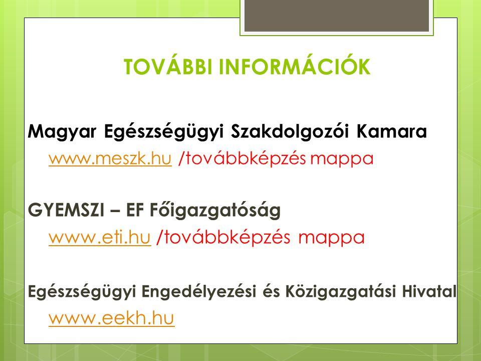 TOVÁBBI INFORMÁCIÓK Magyar Egészségügyi Szakdolgozói Kamara www.meszk.hu /továbbképzés mappa www.meszk.hu GYEMSZI – EF Főigazgatóság www.eti.hu /továb