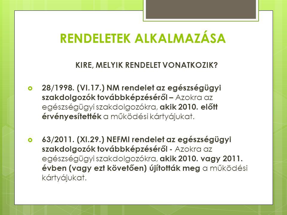 JOGSZABÁLYOK ÁLTAL ELŐÍRT PONTOK 1. Azok a szakdolgozók, akik 2010.