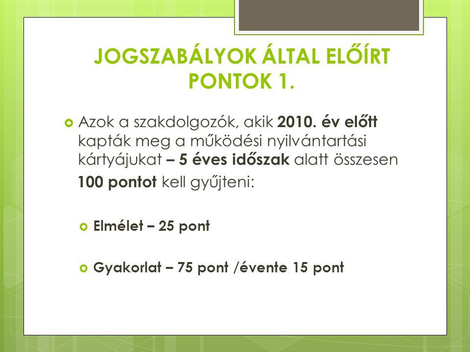 JOGSZABÁLYOK ÁLTAL ELŐÍRT PONTOK 2. Azok a szakdolgozók, akik 2010.