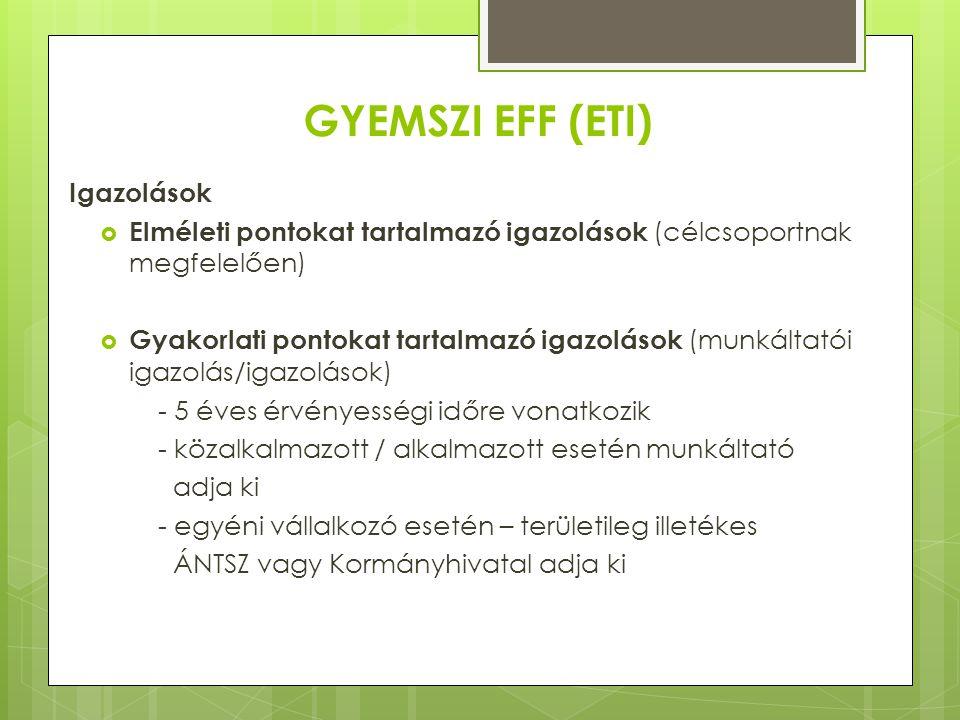 GYEMSZI EFF (ETI) Igazolások  Elméleti pontokat tartalmazó igazolások (célcsoportnak megfelelően)  Gyakorlati pontokat tartalmazó igazolások (munkál