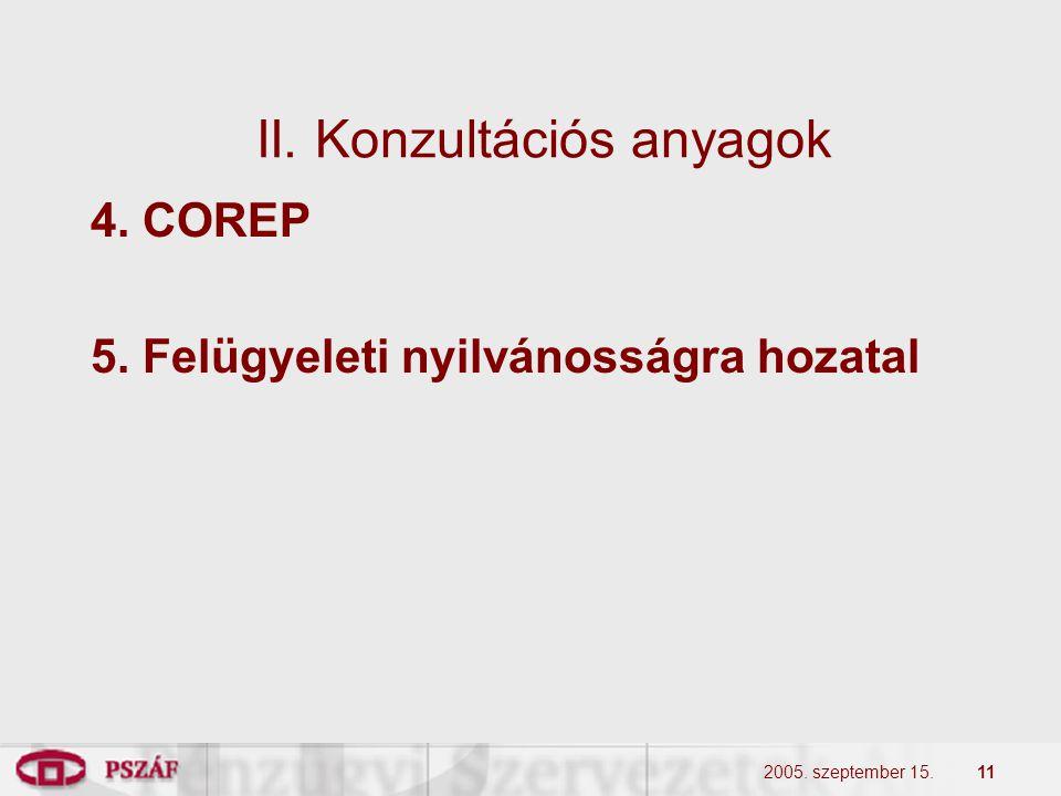 2005. szeptember 15.11 II. Konzultációs anyagok 4. COREP 5. Felügyeleti nyilvánosságra hozatal