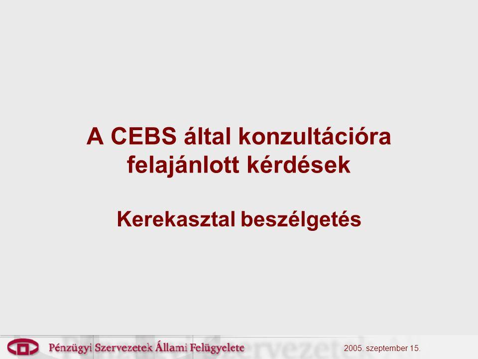 2005. szeptember 15. A CEBS által konzultációra felajánlott kérdések Kerekasztal beszélgetés