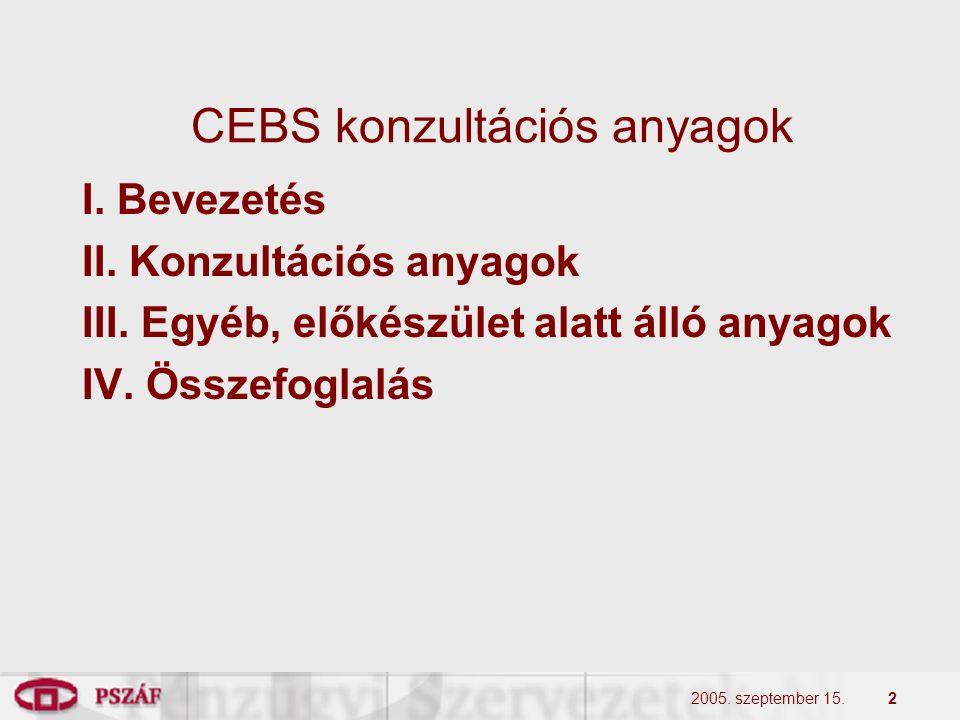 2 CEBS konzultációs anyagok I. Bevezetés II. Konzultációs anyagok III. Egyéb, előkészület alatt álló anyagok IV. Összefoglalás