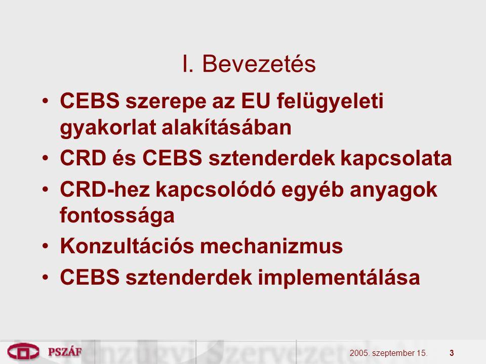 2005. szeptember 15.3 I. Bevezetés •CEBS szerepe az EU felügyeleti gyakorlat alakításában •CRD és CEBS sztenderdek kapcsolata •CRD-hez kapcsolódó egyé