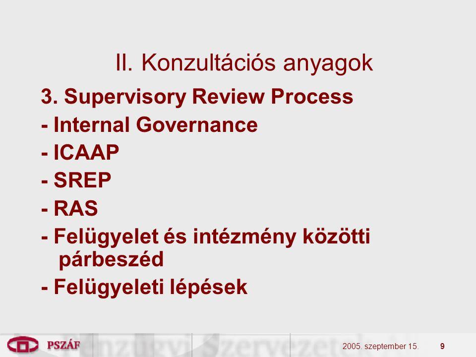 2005. szeptember 15.9 II. Konzultációs anyagok 3. Supervisory Review Process - Internal Governance - ICAAP - SREP - RAS - Felügyelet és intézmény közö