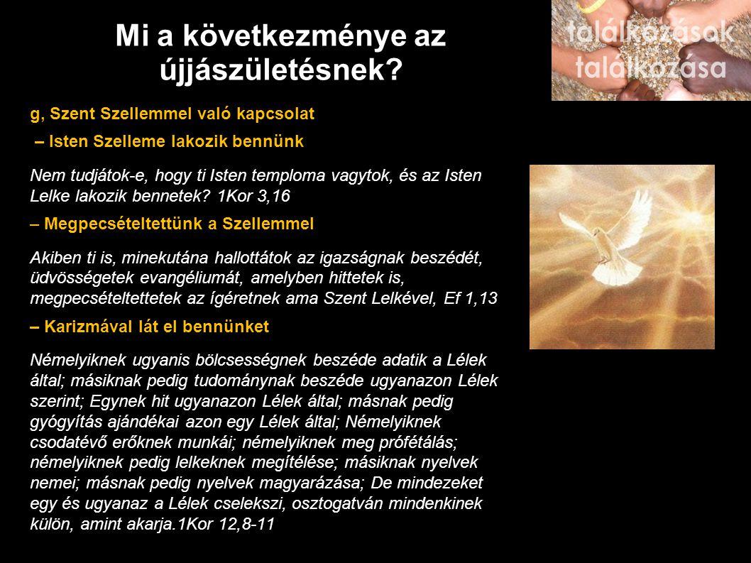 Mi a következménye az újjászületésnek? g, Szent Szellemmel való kapcsolat – Isten Szelleme lakozik bennünk Nem tudjátok-e, hogy ti Isten temploma vagy