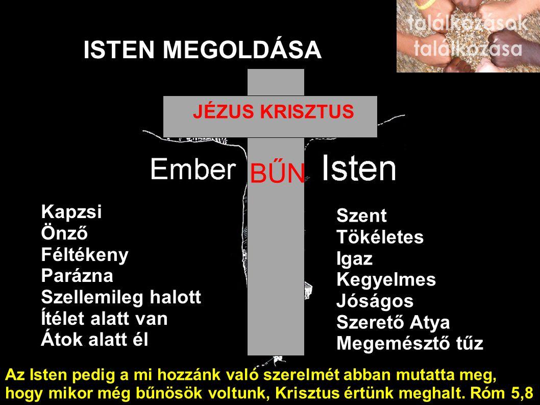 ISTEN MEGOLDÁSA Kapzsi Önző Féltékeny Parázna Szellemileg halott Ítélet alatt van Átok alatt él Szent Tökéletes Igaz Kegyelmes Jóságos Szerető Atya Megemésztő tűz BŰN JÉZUS KRISZTUS Az Isten pedig a mi hozzánk való szerelmét abban mutatta meg, hogy mikor még bűnösök voltunk, Krisztus értünk meghalt.