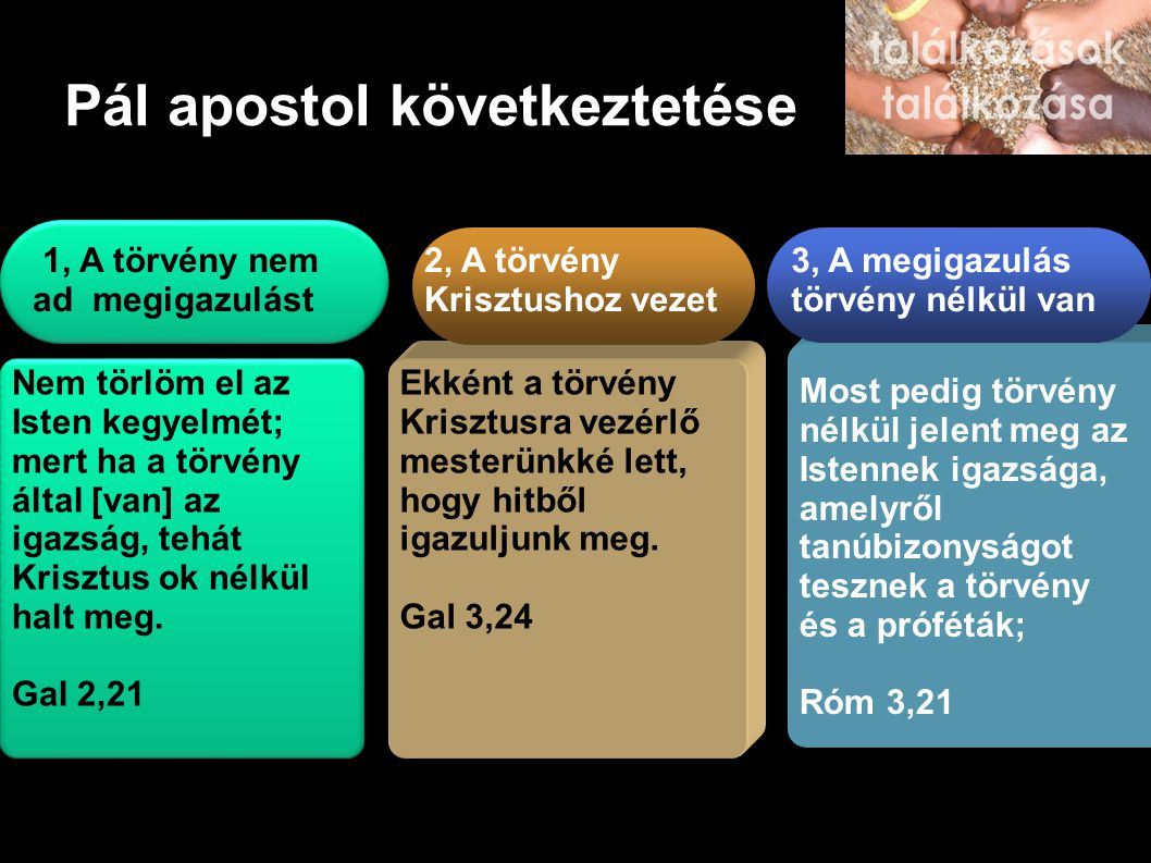 Pál apostol következtetése 1, A törvény nem ad megigazulást Nem törlöm el az Isten kegyelmét; mert ha a törvény által [van] az igazság, tehát Krisztus ok nélkül halt meg.