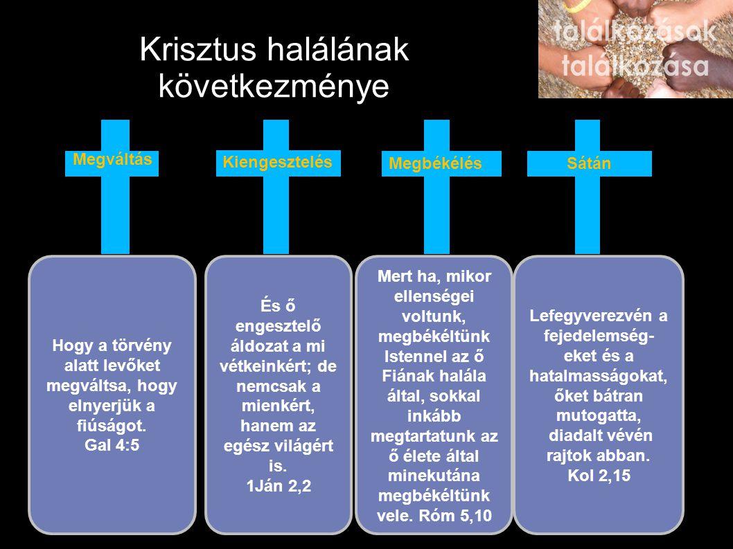 Krisztus halálának következménye És ő engesztelő áldozat a mi vétkeinkért; de nemcsak a mienkért, hanem az egész világért is. 1Ján 2,2 Hogy a törvény