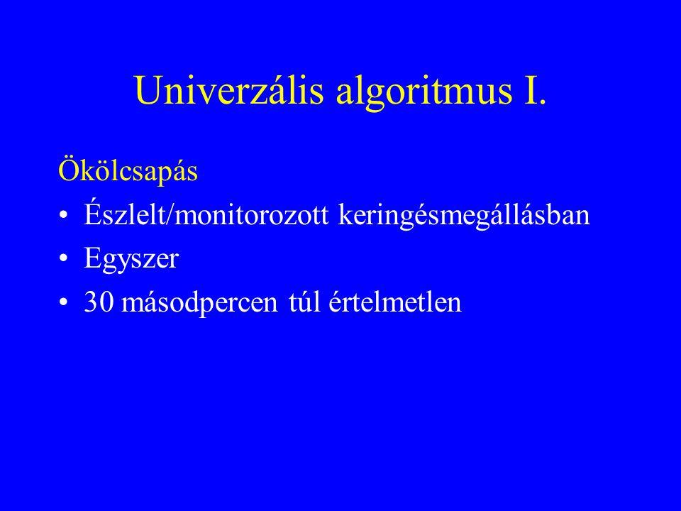 Univerzális algoritmus II.Gyógyszerek •Adrenalin, Vazopresszin •Az első 3 DC sokk után: amiodaron.