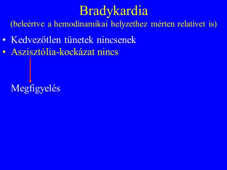 Bradykardia (beleértve a hemodinamikai helyzethez mérten relatívet is) •Kedvezőtlen tünetek nincsenek •Aszisztólia-kockázat nincs Megfigyelés