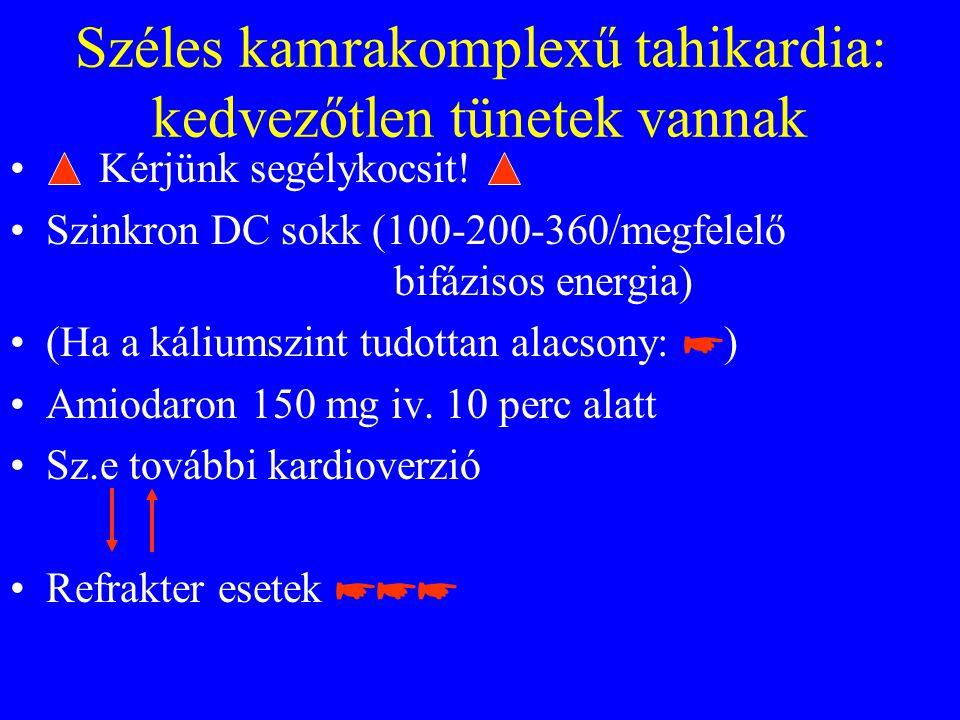 Széles kamrakomplexű tahikardia: kedvezőtlen tünetek vannak • Kérjünk segélykocsit.