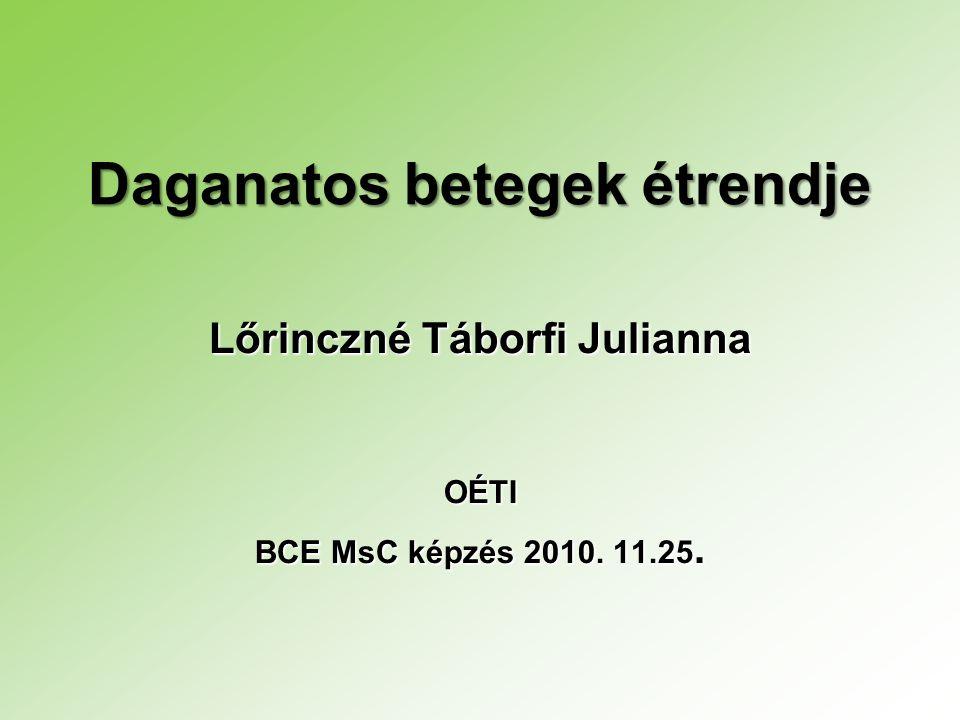 Daganatos betegek étrendje Lőrinczné Táborfi Julianna OÉTI BCE MsC képzés 2010. 11.25.